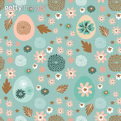 Easter Beautiful festive seamless pattern with  easter eggs, cute bunny,