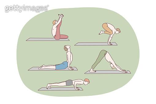 Yoga, pilates, workout concept