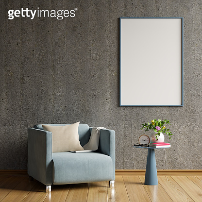 Mock up poster in modern living room interior design with concrete empty wall.