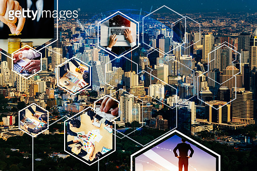 Business network web banner photo set in concept of management and growth