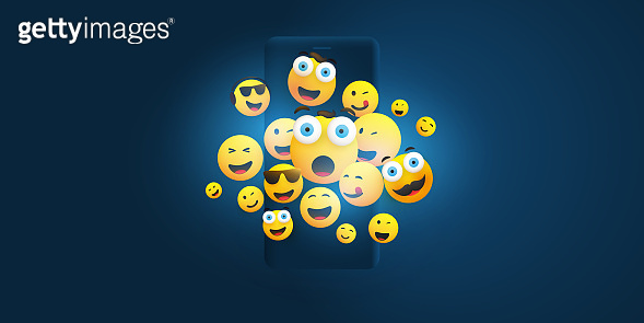Emoticons on Mobile Device Screen Concept