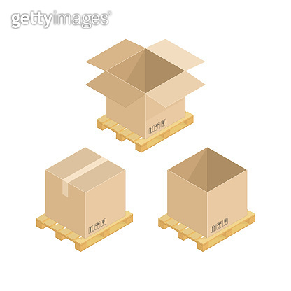 Isometric cardboard boxes and pallets.