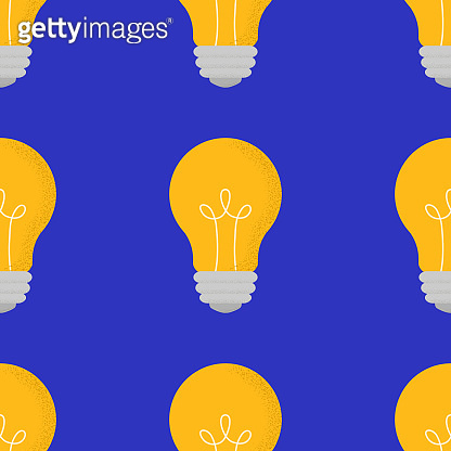 Vector seamless pattern with cartoon doodle light bulbs. Trendy background with sign or symbol of idea, business, science, education