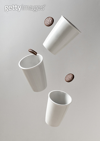 Mug or cup of coffe to go porcelain on white background