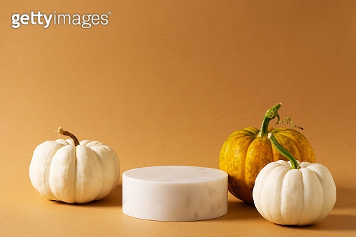 Autumn yellow pedestal and stand mock up with pumpkins