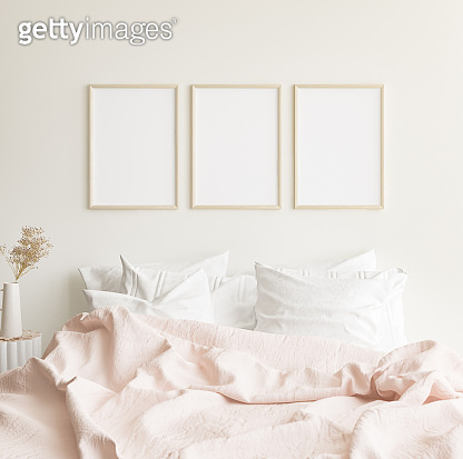 Mockup frames in minimalist modern bedroom interior background, Scandinavian style