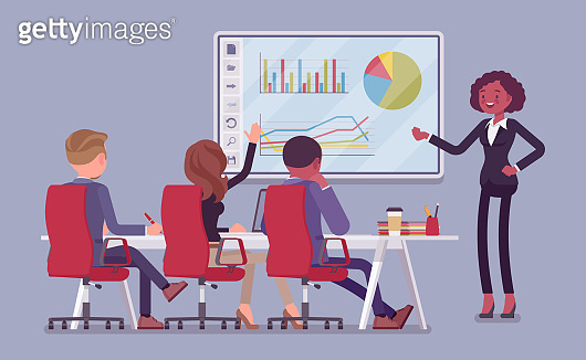Interactive white board, smartboard learning and presentation for business people