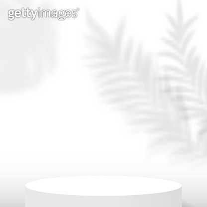 White circle stage podium decoration with shadow of tropical plants. Pedestal scene with for product, advertising, show, award ceremony, on white background. Minimal style. Vector illustration.