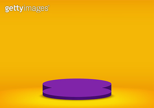 Halloween background. Purple stage podium isolated on yellow background. Pedestal scene with for product, advertising, show. Holiday backdrop. Studio room minimal style. Vector illustration.