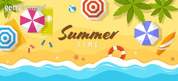 Tropical summer beach top view illustration