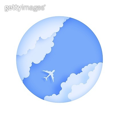 Silhouette of a passenger plane flying in the sky in paper cut style Round frame cut out of cardboard clouds and airplane in blue sky. Top view origami landscape. 3d vector travel illustration concept