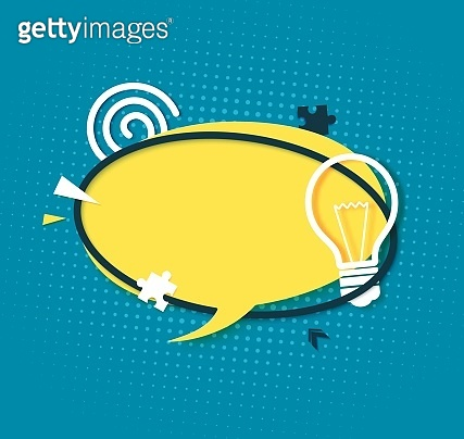 Yellow speech bubble in paper cut art. Retro style banner with bulb sign and puzzle shape. Cut out round sticker with place for promotion text, price tag, sale ad, quiz, Vector illustration.