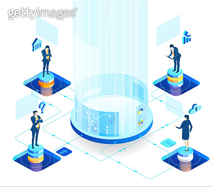 Isometric 3D business environment with business people working and communicating in server room. Technology, success, internet, data protection and personal security concept infographic illustration.