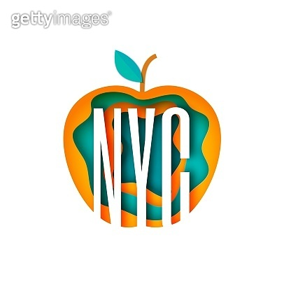 New York city abbreviation in apple frame in paper cut style Vector illustration