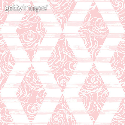 Rhombus with grunge stripes and Rose Flowers Seamless pattern. Vector Abstract Pink background