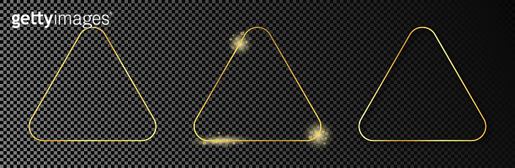 Gold glowing rounded triangle frame