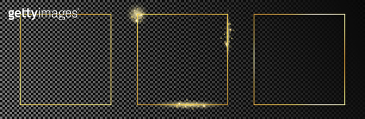 Gold glowing square frame