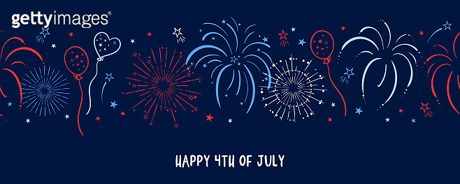 Fun hand drawn firework seamless pattern in red, blue white colors, party background, great for Independence day, fabrics, banners, wallpapers, wrapping - vector design
