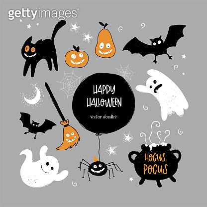 Cute hand drawn Halloween design, spooky characters and decoration, vector elements.