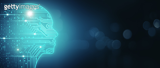 Artificial intelligence and machine learning concept with glowing digital human head silhouette with circuit on dark wallpaper with bubbles and copyspace. 3D rendering, mockup