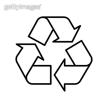 Recycle symbol black outline on white background. Vector