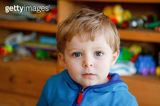 Portrait of little child, cute adorable toddler boy looking at the camera. Happy, curious kid at home, indoors.
