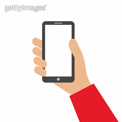 Hand holding black smartphone and showing blank screen isolated on white background. Using mobile smart phone for shopping online concept. Flat cartoon style. Vector design element illustration