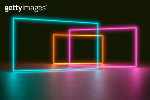Modern empty abstract interior illuminated by rectangle green orange pink neon lights like frames, 80's retro style