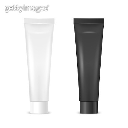 Vector 3d Realistic Plastic, Metal White and Black Tooth Paste, Cream Tube Packing Isolated on White Background. Design Template of Toothpaste, Cosmetics, Cream, Tooth Paste for Mockup. Front View