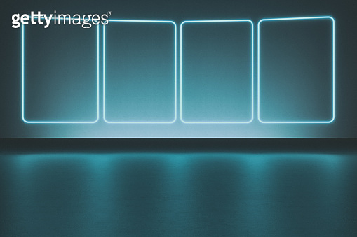 Modern empty abstract background illuminated by 4 rectangle frames blue neon lights, 80's retro style