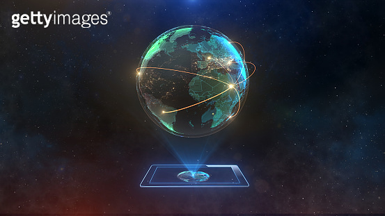 world map in the galaxy with tablet