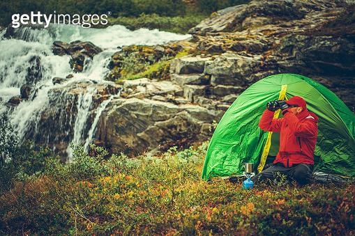 Outdoor Men with Binoculars in the Wild