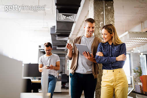 Happy creative team in office. Business, startup, design, people and teamwork concept