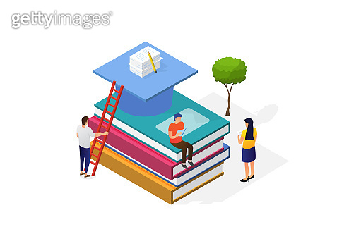 Illustration of a world book day concept. Modern young people read books. Men sitting on a big book stack. Vector isometirc illustration.
