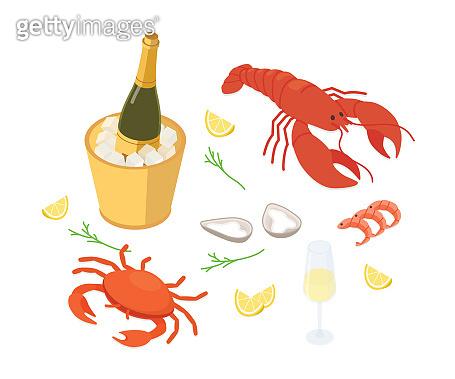 Seafood set isometric vector illustration