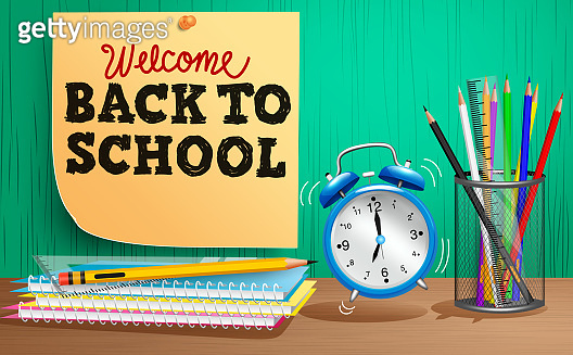 Back to school vector concept design. Welcome back to school text in sticky note decoration with study elements like notebook and alarm clock for education supplies item background.