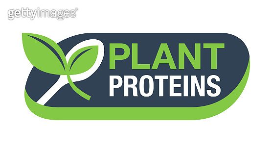 Plant proteins stamp - spoon with plant sprout