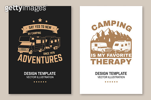 Camping is my favorite therapy. Posters, banners, flyers. Vector Concept for shirt or logo, print, stamp or tee. Vintage typography design with RV Motorhome, camping trailer and mountain silhouette