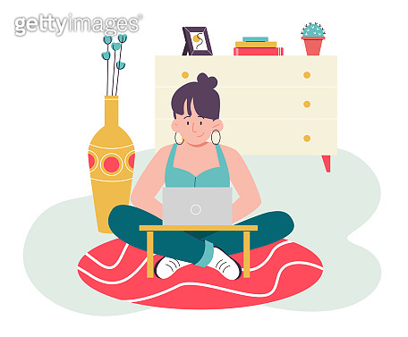 Female with laptop sitting on the floor. Flat design illustration. Vector