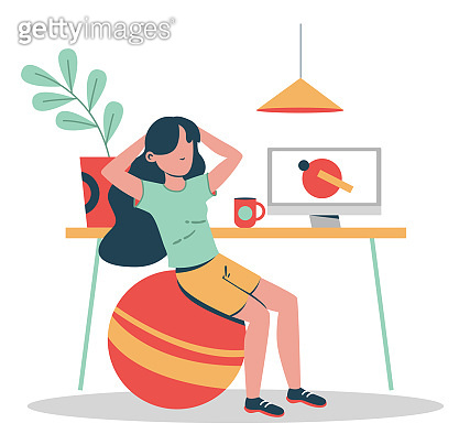 Female doing sports at home with video. Flat design illustration. Vector