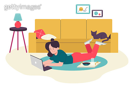 Female with laptop on the floor, cat on the sofa. Flat design illustration. Vector