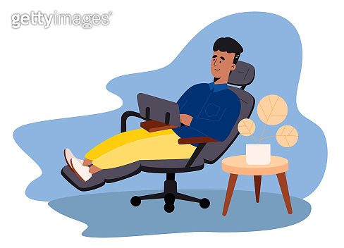 Creative man freelancer sitting on cozy armchair and working on laptop. Concept of remote work from home. Flat design Illustration. Vector