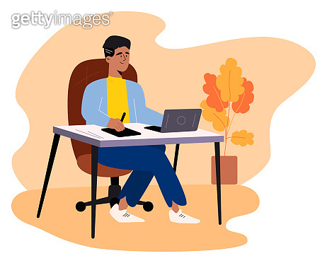 Handsome designer in casual wear sitting at the table and working on computer at home using graphic tablet. Flat style color modern vector illustration