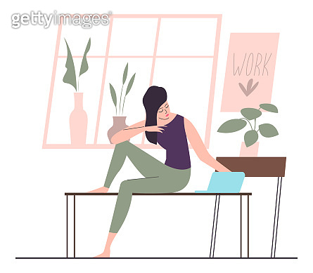 Female with laptop sitting on the table at home interior. Flat design illustration. Vector