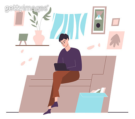 Female with laptop sitting on the sofa at home interior. Flat design illustration. Vector