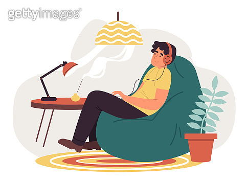 Man listening to music at home. Flat design illustration. Vector