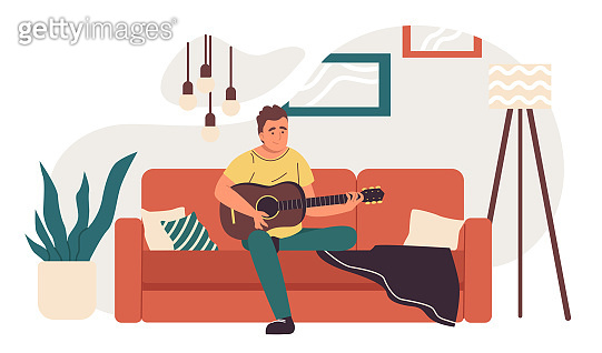 Man on the sofa with guitar. Flat design illustration. Vector