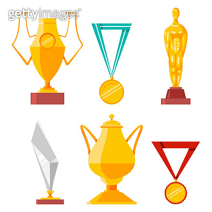 Trophies, medals, cups and awards vector cartoon set isolated on a white background.