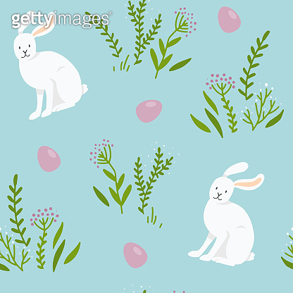Seamless vector pattern with white bunnies, Easter eggs and plants isolated on a blue background. Easter pattern.