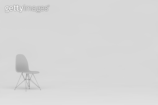 Concept white chair with white background. 3d render.